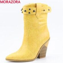 MORAZORA 2019 新しい女性ブーツ厚いハイヒールポインテッドトゥウエスタンブーツ女性高品質 pu レザーの女性のアンクルブーツ靴