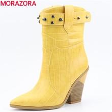 MORAZORA 2019 yeni kadın çizmeler kalın yüksek topuklu sivri burun batı çizmeler kadın yüksek kaliteli pu deri bayan yarım çizmeler ayakkabı