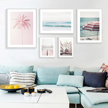 Pink Sea Scenery Wall Art Canvas Painting Tram Beach Nordic Poster Coconut Tree Pictures For Living Room Building Unframed