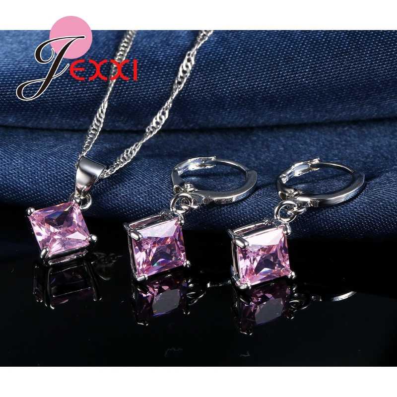 Hohe Qualität Cubic Zirkon Geometrische 3D Platz Erklärung Halskette 925 Sterling Silber Ohrringe Set Für Frauen Brincos