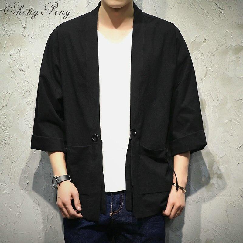 Japonais traditionnel hommes vêtements hommes yukata japon kimono hommes kimono noir japonais vêtements CC141