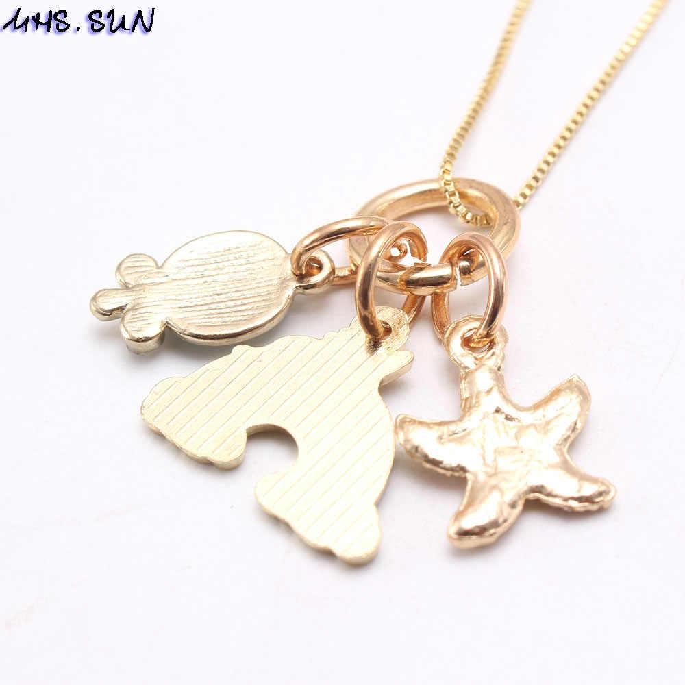MHS. SUN mode arc-en-ciel coeur étoile de mer pendentifs collier enfants filles charmant pendentif longue chaîne collier mignon bijoux pour enfant