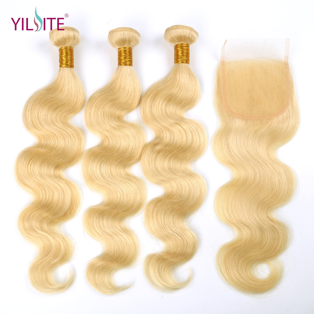 YILITE Body Wave 613 Blonde Non-Remy Human Hair Bundles With Closure 3 Bundles With 4x4 Lace Closure Free Part