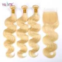 YILITE Körper Welle 613 Blonde Nicht-Remy Menschliches Haar Bundles mit Verschluss 3 Bundles Mit 4x4 Spitze verschluss Freies Teil