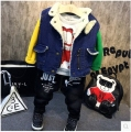 2016 autumn winter baby clothes fake fur vest boy denim jacket children sleeveless party costume thick menino for 2-7Y