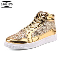 DAOKFPO 2018 PU Leather Gold Silver Black Women Casual Shoes Spring Autumn Comfort Ladies Sneakers Lace Up Women Shoes 39 45