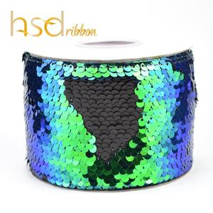 Image 2 - HSDRibbon 75mm 3 inch Shocking pink black colorful Sequin Fabric Reversible Glitter Sequin Ribbon 25Yards/Roll