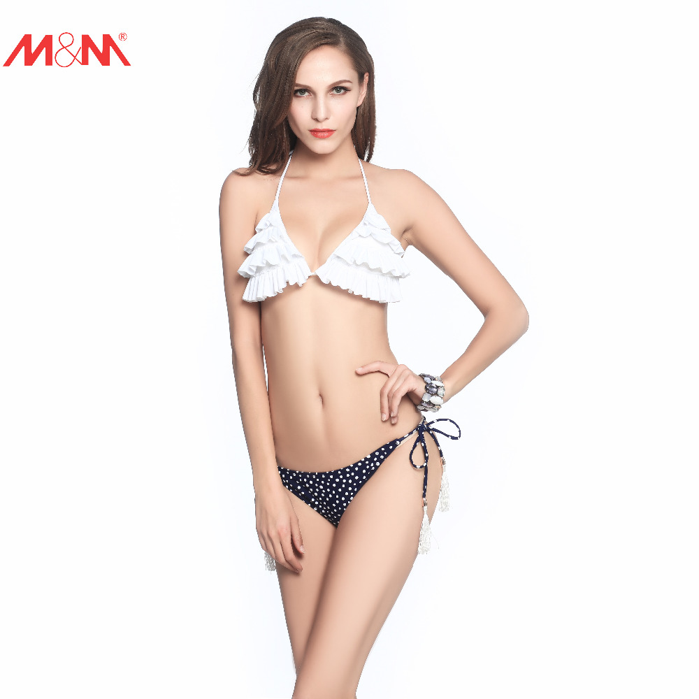M&M Push Up Small Swimsuit Brazilian Ruched Low Waist Halter Flouncing Bikini Set Tie Side Sexy Beach Strappy Dot Swimwear