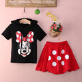 2016 Baby Boy Girls Kids Minnie Mickey Mouse Clothes Top Dress Pants 2Pcs Outfit