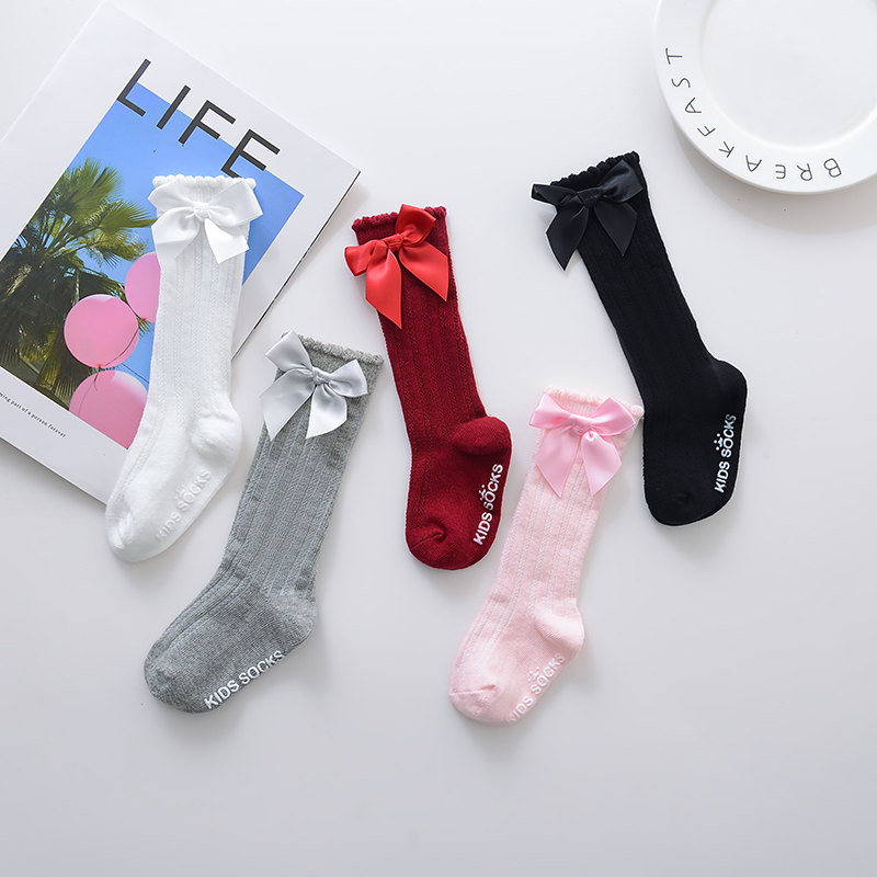 New Kids Socks Toddlers Girls Big Bow Knee High Long Soft Cotton Lace baby Socks Kids kniekousen meisje Dropshipping #30