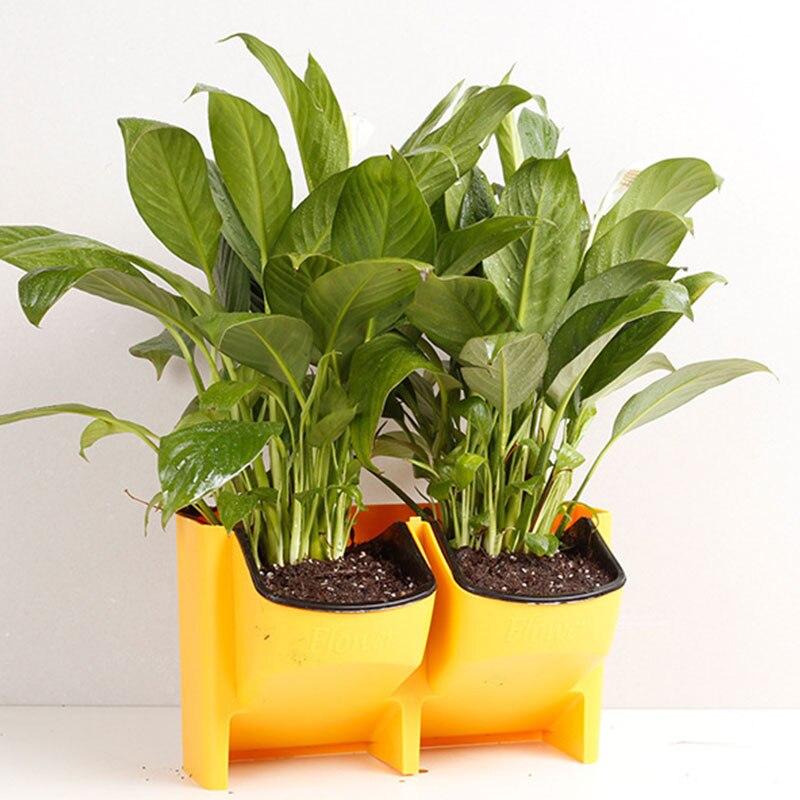 SOLEDI пластиковый цветочный горшок для растений, настенный садовый подвесной Штабелируемый садовый инвентарь, садовые ограждения, домашний декор - Цвет: Цвет: желтый