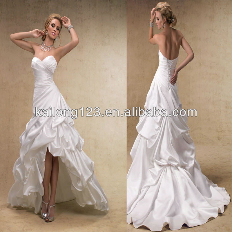 Stunning Sweetheart A Line Corset Lace Up Back Pick Skirt Satin High Low Wedding Dress In Dresses From Weddings Events On Aliexpress