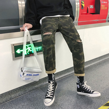 купить Military Trend New Casual Broken Hole Print Pattern Male Pants 2018 Autumn Leisure Cotton Camouflage Men Straight Overalls M-2XL дешево