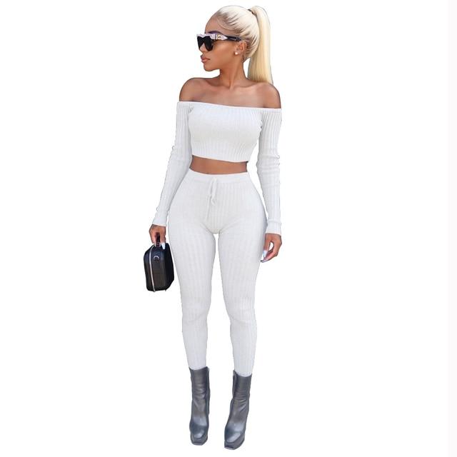 Two Piece Set Off Shoulder Crop Top And Long Pants Women Casual 2 Piece Set Bodycon Jumpsuit 2017 Slash Neck Long Sleeve Suit