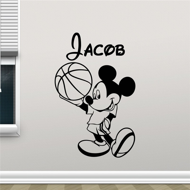 Mickey Mouse Wall Decal Boy Sport Basketball Ball Custom Name Mickey Mouse Cartoons Vinyl Sticker Baby Kids Wall Sticker
