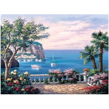 RIHE Azure sea view-Painting By Numbers,Hand painted Paint By Number On Canvas, DIY Oil Canvas Painting,Wall Art Picture 40x50cm