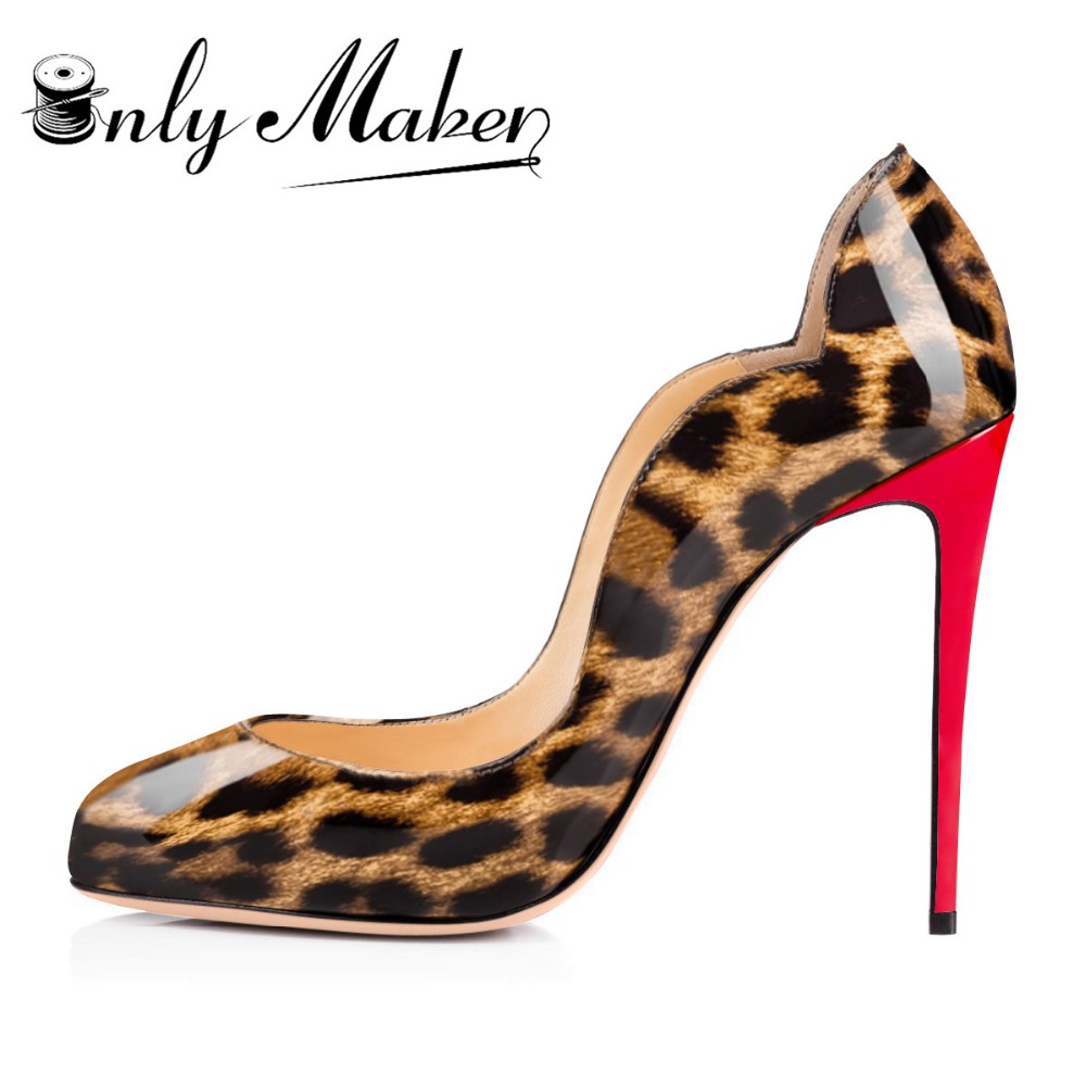 Onlymaker Brand Women's High Heel Pumps Shoes Round Toe Fashion Patent Leather Red Heel Leopard Stiletto Plus Size US15 onlymaker women patent suede 12cm 4 7 inches thin high heel stilettos pointed toe plus big size 15 dress comfortable pumps shoes