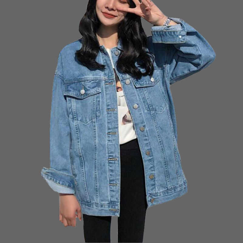 2019 Women Basic Coat Denim Jacket Women Winter Denim Jacket For Women Jeans Jacket Women Denim Coat loose casual Outwear