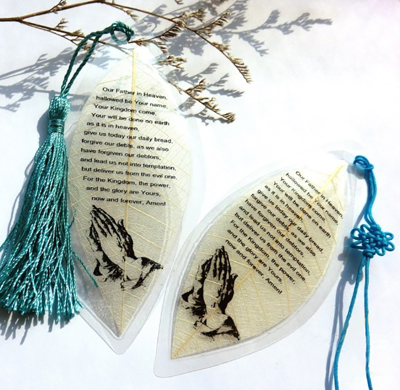 1pcs Leaf Vein Bookmark Prayer Christian Collection Creative Tassel Bookmark School Supplies Stationery Gift