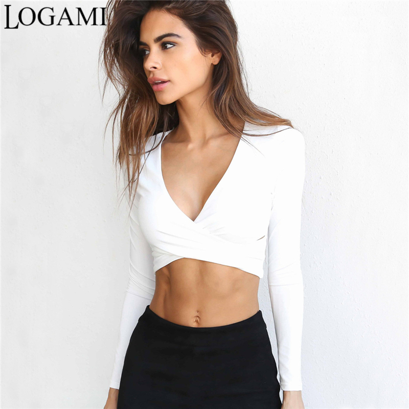 Logami long sleeve crop top v neck t shirts for women sexy for Best white t shirt women s v neck