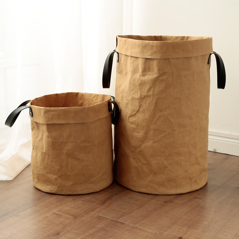 Laundry basket canvas in brown paper 3