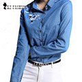 2017 Spring Denim Shirt  Women  Flower Embroidery Turn-down Collar Long Sleeve Tops Shirt blusas feminina T6D9262Y