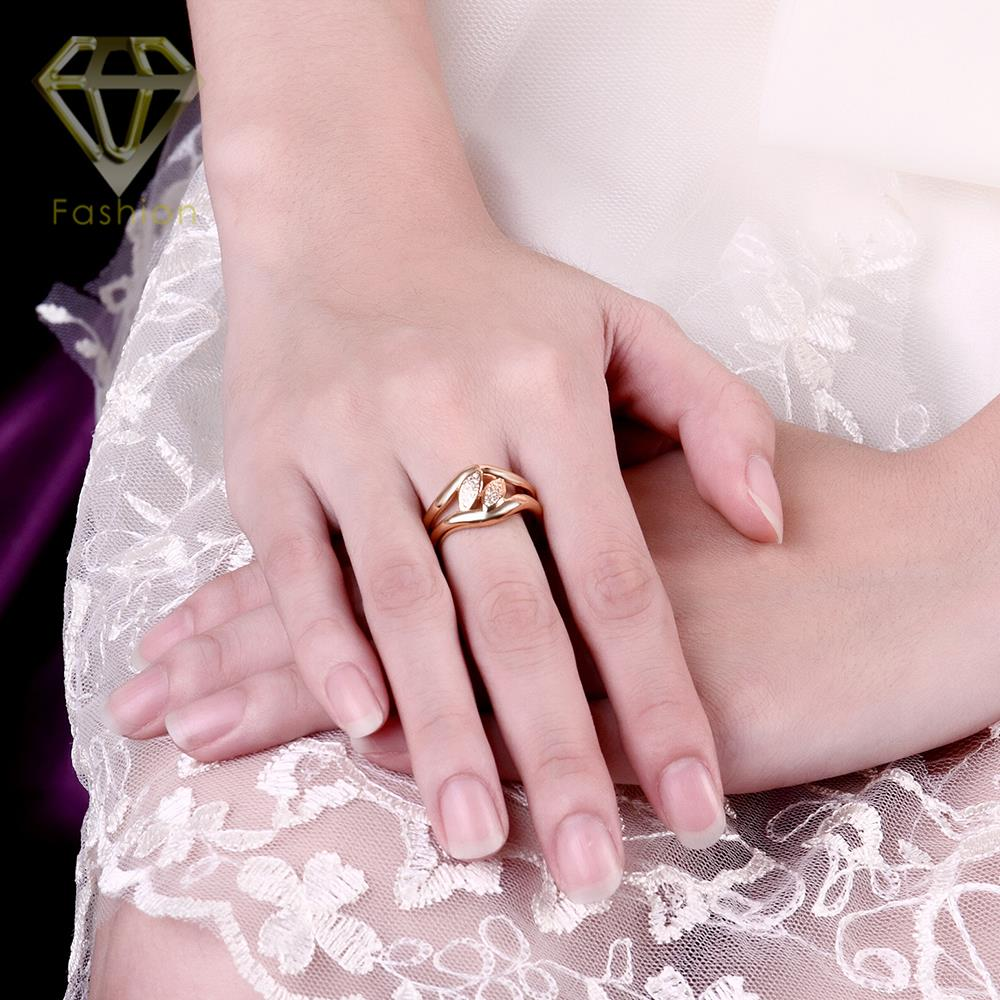 New Design /Rose Gold Color AAA+ Cubic Zirconia Double Leaves Rings ...