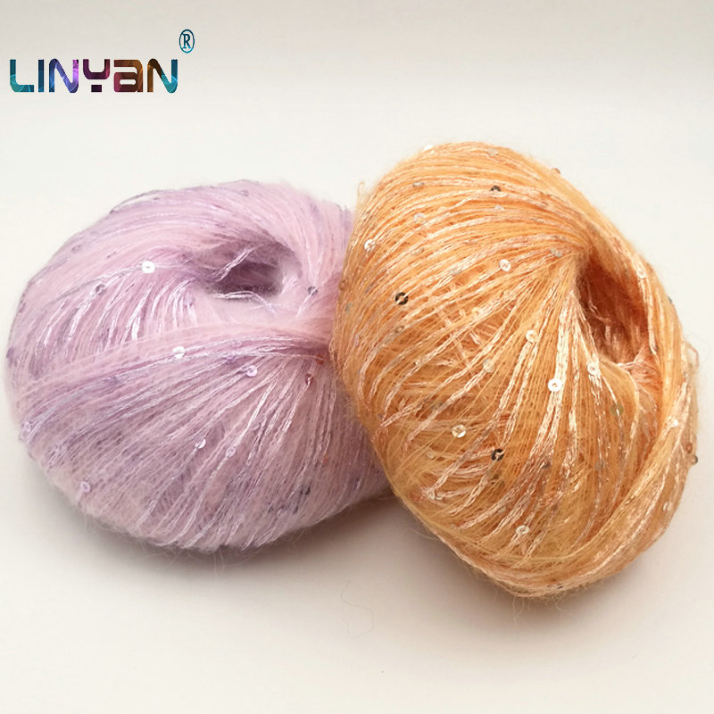 10balls 50g Paillette wool yarn for crochet Sequin yarn for knitting Hand Wool threads Scarf tippet