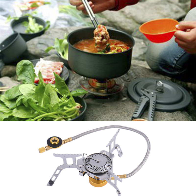 Outdoor Cooking Camping Mini Gas Stove Foldable Gas Stove Furnace Split Burner Electronic Ignition Easy To