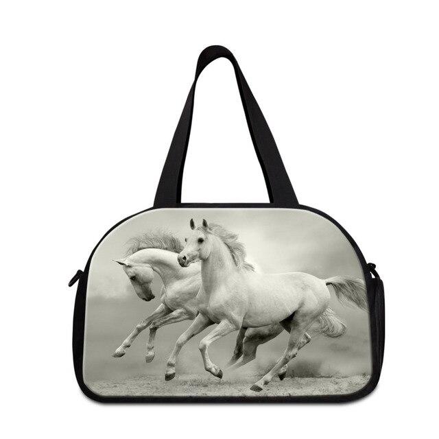 53bcf372a737 Dispalang Horse Printing Women Men Weekend Luggage Bag Large Capacity Travel  Duffle Bag with Independent Shoe Shoulder Bag