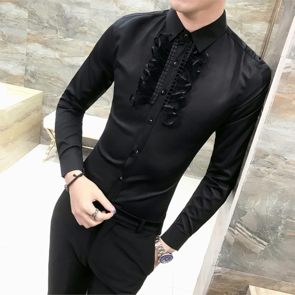 Loldeal Man Ruffles Shirt Steampunk Black White Long Sleeve Single Breasted Cotton Shirt Tops Wedding lace stitching shirt