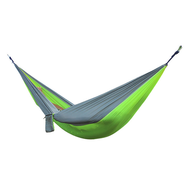 2 People Portable Parachute Hammock for outdoor CampingFruit green with gray edges 270*140 cm 2 people portable parachute hammock outdoor survival camping hammocks garden leisure travel double hanging swing 2 6m 1 4m 3m 2m