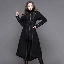 Diabelska moda Steampunk jesienno zimowa damska gotycka długa kurtka Punk czarne długie rękawy grube płaszcze wiatrówki Slim płaszcze