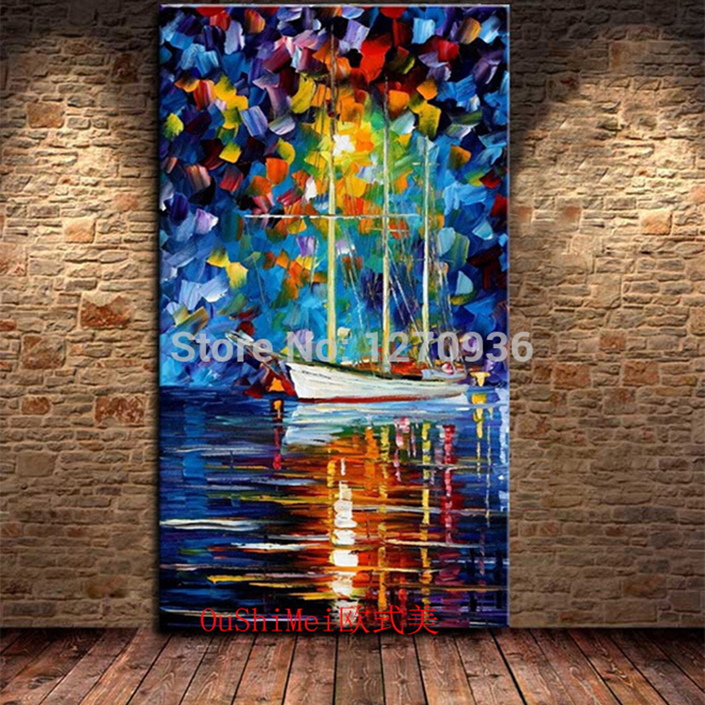 New Hand Painted Oil Painting On Canvas Wall Art Modern <font><b>Knife</b></font> Landscape Painting Abstract <font><b>Boat</b></font> Blue Pictures Hang Paintings image