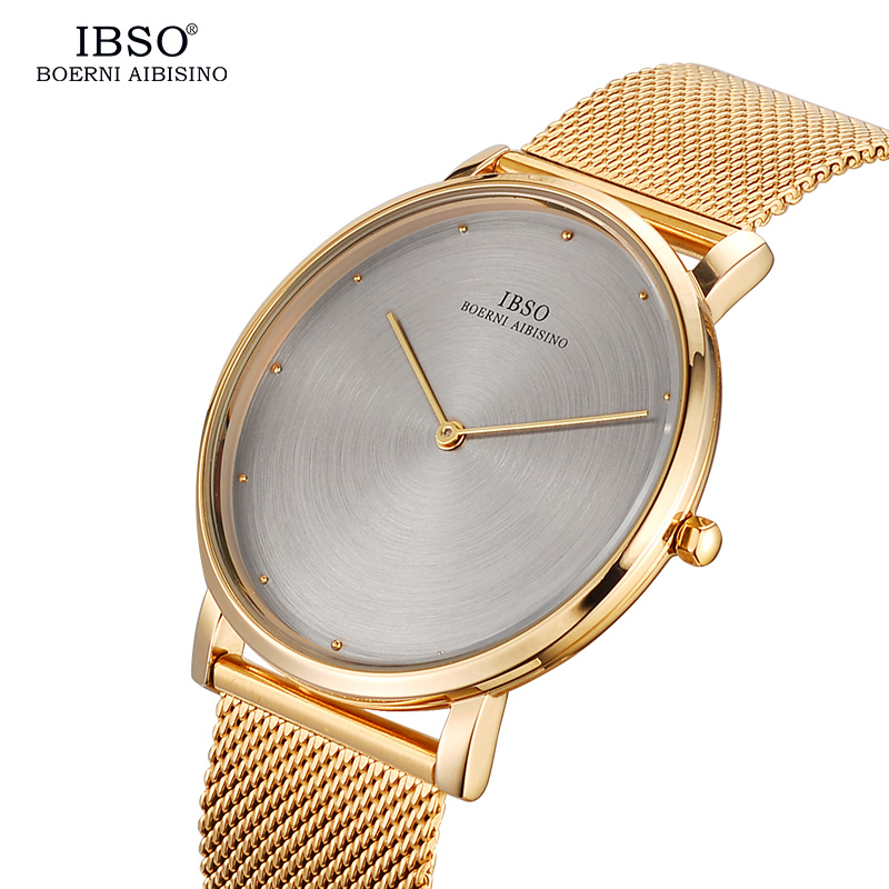 IBSO Fashion 7MM Ultra-thin Men Watches 2017 Gold Stainless Steel Mesh Strap Male Clock Sport Quartz Watch Men Relogio Masculino new clock gold fashion men watch full gold stainless steel quartz watches wrist watch wholesale kezzi gold watch men k1174