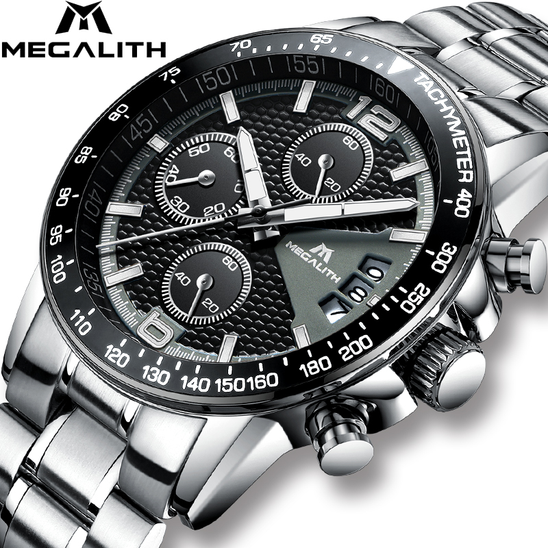 MEGALITH Brand Men Watch Chronograph Stainless Steel Watches Men Waterproof Quartz Watch Gents Luxury Casual Business Wristwatch