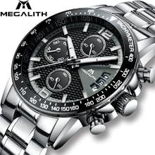 MEGALITH Brand Men Watch Chronograph Stainless Steel Watches Men Waterproof Quartz Watch Gents Luxury Casual Business Wristwatch