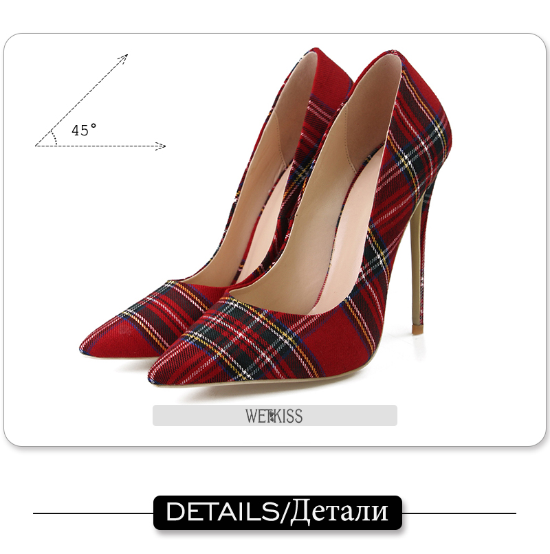 Pumps Heels Red Pointed Plaid Shoes 12