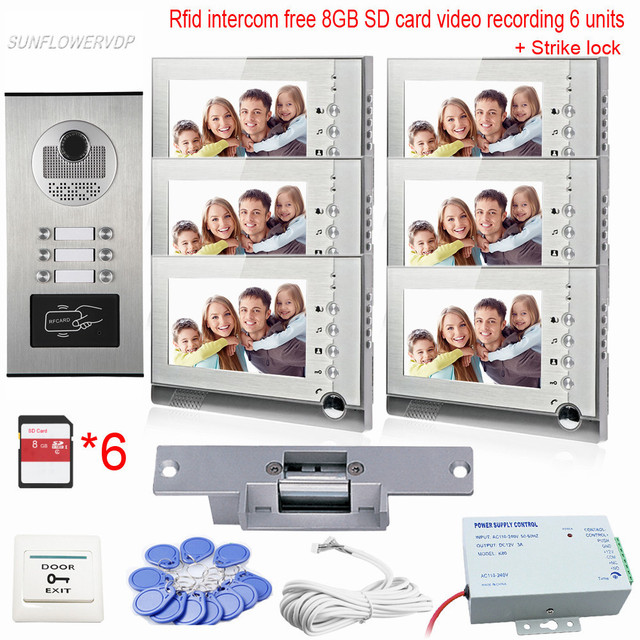 """7"""" Home Phone Free 8GB SD Card Video Door Etry Door Phone With Recording Free 8GB SD Cards Take Photos Intercom With Lock System"""