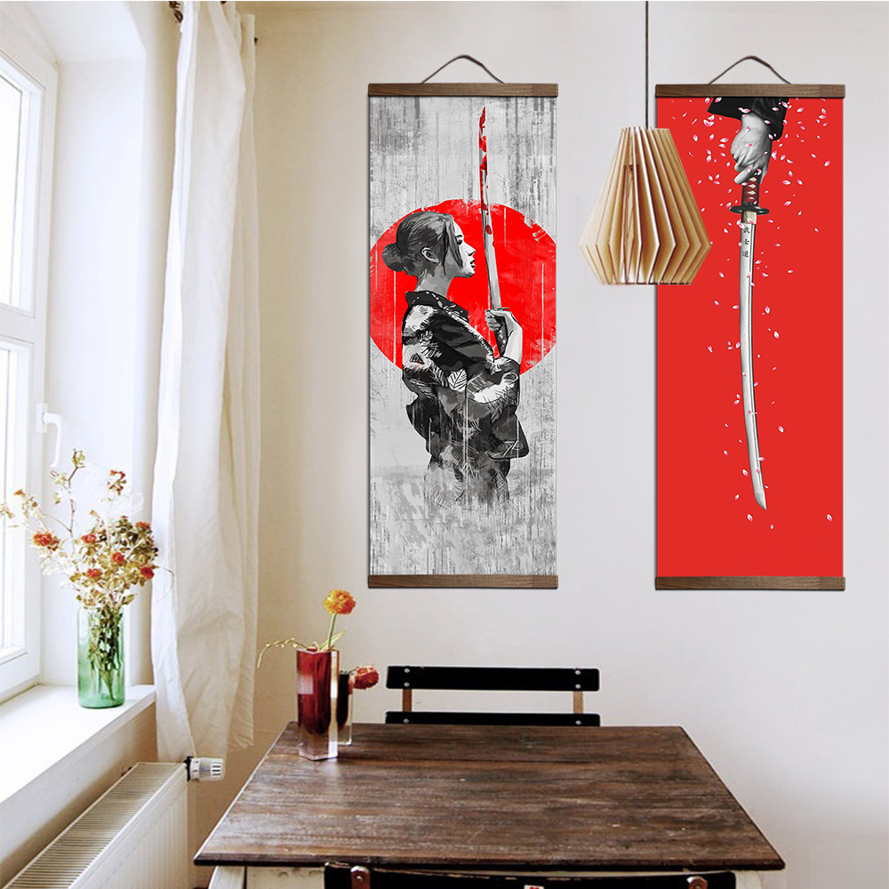 Japanese Ukiyoe for canvas posters and prints decoration painting wall art home decor with solid wood hanging scroll 1