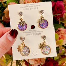 Gold Snowflake Charm Round Earring New Korean Style Purple Crystal Stud Earrings for Women Party Wedding Earings Fashion Jewelry