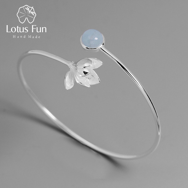 Lotus Fun Real 925 Sterling Silver Natural Aquamarine Gemstone Handmade Fine Jewelry Magnolia Flower Bangle for