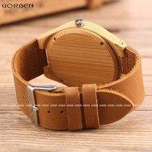 GORBEN New Arrival Brown Wood Watch Mens Womens Designer Watches Sculpture Design Luxury Bamboo Wooden Watch in Original Box