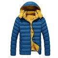 Зимний мужской Теплый Вниз Пальто Сплошной Цвет Длинным Рукавом С Капюшоном Карман На Молнии Парки Пальто Бренд Одежды мужские Пальто толстые Homme
