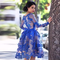 Amazing Tulle Long Sleeves A Line Evening Dresses 2018 Lace Appliques Prom Dresses Royal Blue Couples Party Gowns W4