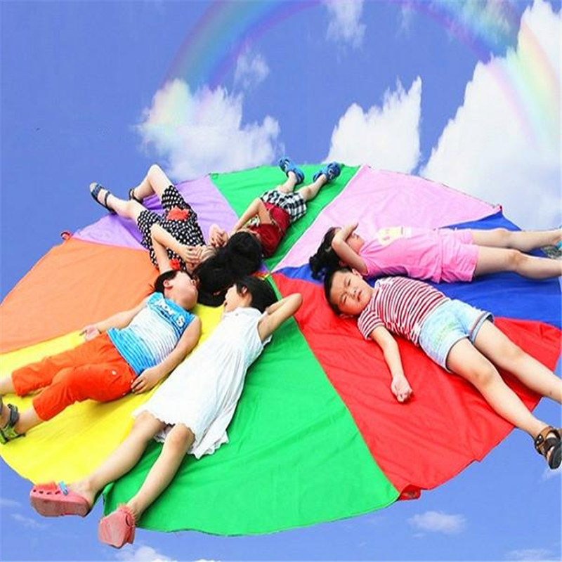 Top Quality 2m Child Outdoor Rainbow Umbrella Parachute Toy Kindergarten Parent-Child Umbrella Rally Amusement Park Playground ...
