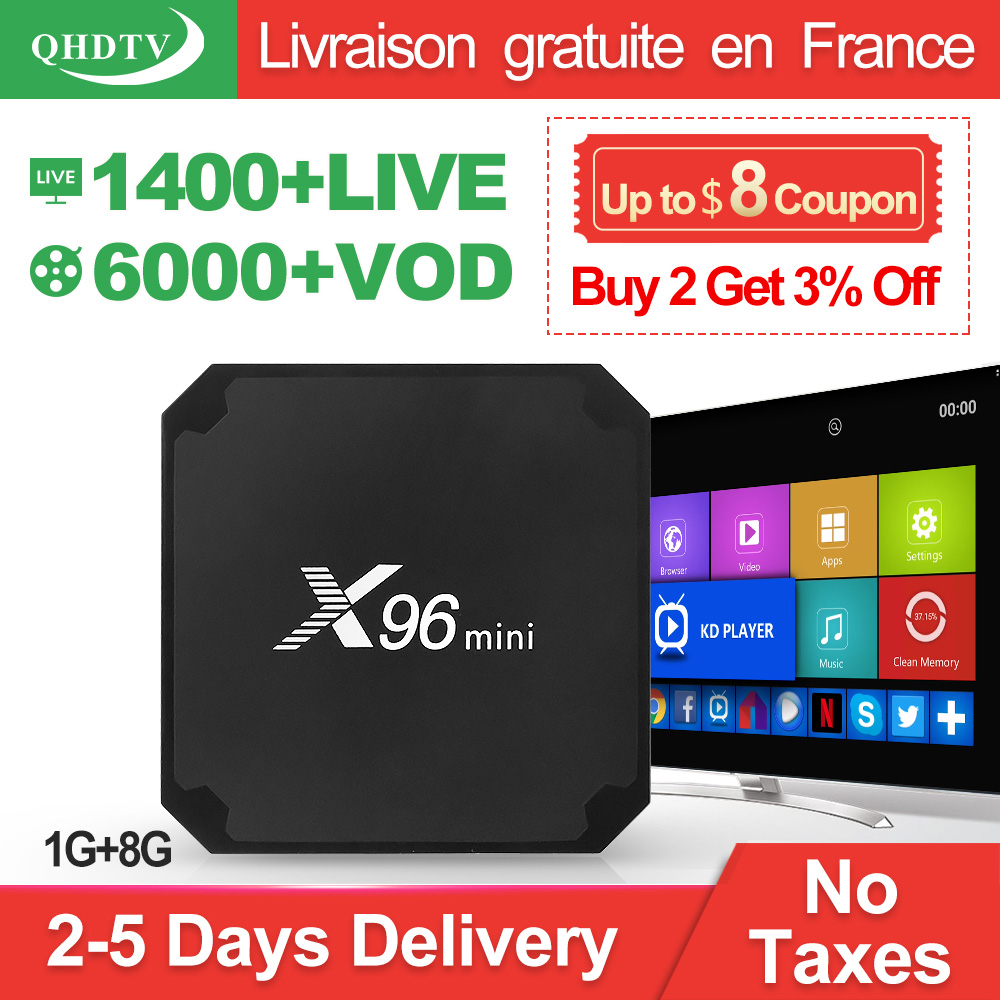 IPTV Francia QHDTV 1 año código X96 Mini Android 7,1 TV BOX S905W X96Mini IPTV Bélgica francés Países Bajos árabe de IPTV suscripción