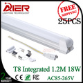 easy installation integrated t8 led tube 1200mm 18w AC85-265V 25pcs/lot free shipping
