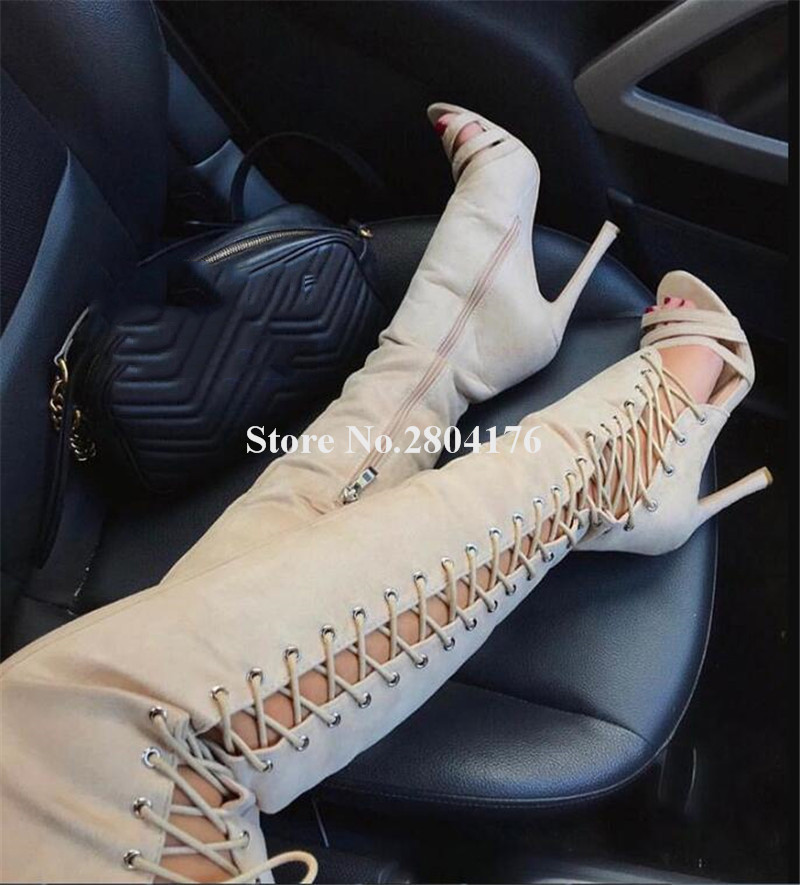 Brand Design Women Peep Toe Suede Leather Thin Heel Over Knee Gladiator Boots Side Cut-out Lace-up High Heel Long BootsBrand Design Women Peep Toe Suede Leather Thin Heel Over Knee Gladiator Boots Side Cut-out Lace-up High Heel Long Boots