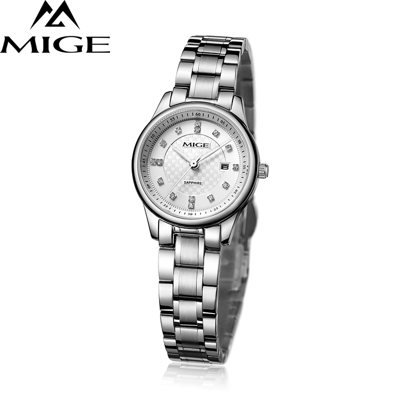Mige 2017 New Hot Sale Brand Ladies Watch Steel White Black Watchband Female Clock Waterproof Saphire Quartz Women Watches mige 20017 new hot sale top brand lover watch simple white dial gold case man watches waterproof quartz mans wristwatches